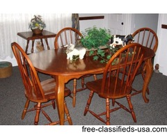 Cherry dining room table and 4 chairs