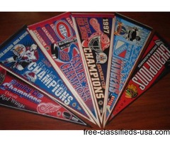 Lot of 6 NHL Stanley Cup Champions Pennants