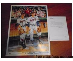 Boston Braves Ron Lewis Print Spahn/Sain Autographed