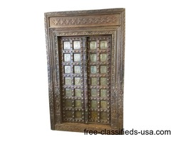 Antique Style Hand Carved Reclaimed Teak Doors Frame