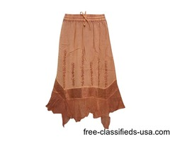 Bohemian Poppy Style Skirt Brown Embroidered Rayon Sexy Gypsy