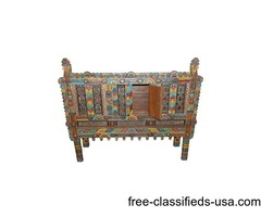 Wooden Indian Damchiya Cabinet Hand Carved Painted Colorful Chest