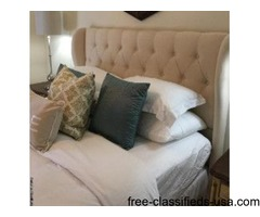 Linen Light Beige Headboard and metal bed frame