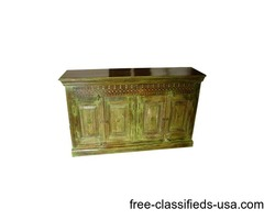 Antique SIdeboard Wooden Green Carved Buffet Chest