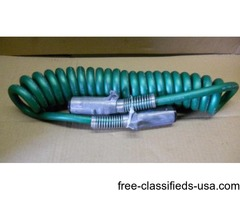 Truck and Trailer Coiled Trailer Connectors Green - 7-Way