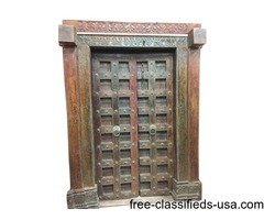 Antique Doors Brass Floral Patina Vintage India Double Door