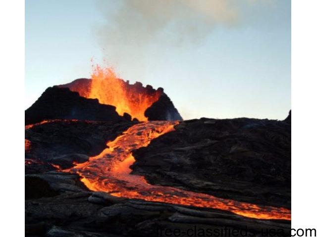 Big Island Hawaii Volcano Twilight Red Lava Glow Viewing
