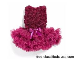 Ribbon Rosette Flower Pettidress For Baby Girls