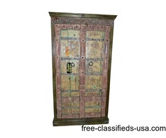Spanish Hand Carved Distressed Ochre Reclaimed Cabinet