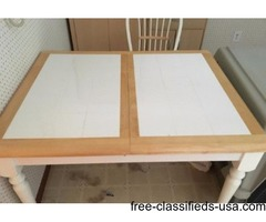 Wood & white kitchen table & chairs