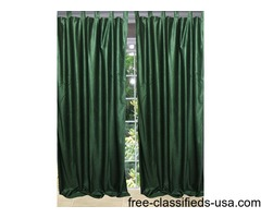 Window Curtains Drapes Two Pine Green India Sari Curtain