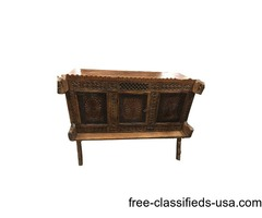 Vastu Chakra Carved Chest Antique Console Sideboard