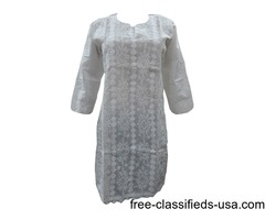 Long Embroidered Tunic Dress White Patch Work Cotton Tops Kurti S