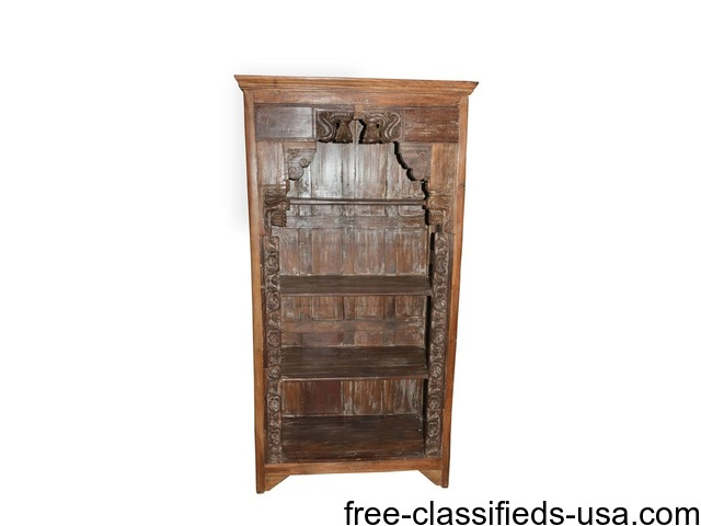 Antique Bookcase Traditional Hand Carved Indian Furniture Home Furniture Garden Supplies