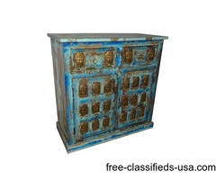 Antique Sideboard Buddha Carving Chest Coffee Table