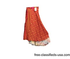 Reversible Skirt Red Bandhani Printed Magic Wrap skirt
