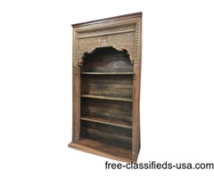 Antique Bookcase Reclaimed Indian Hand Carved Wood Book Shelf