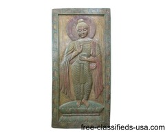 Shakyamuni Buddha Begging Bowl Wall Panel Hand Carved Door Panels