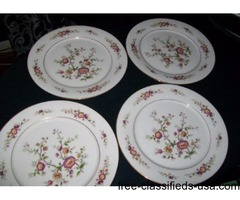 "DINNER PLATES 10 5/8"" ORIENTAL FLORAL DECOR, GOLD TRIM"