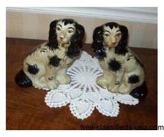 "two( 4 )Pair Staffordshire 91/2""and10"" Seated Spaniel Dog Figurines"