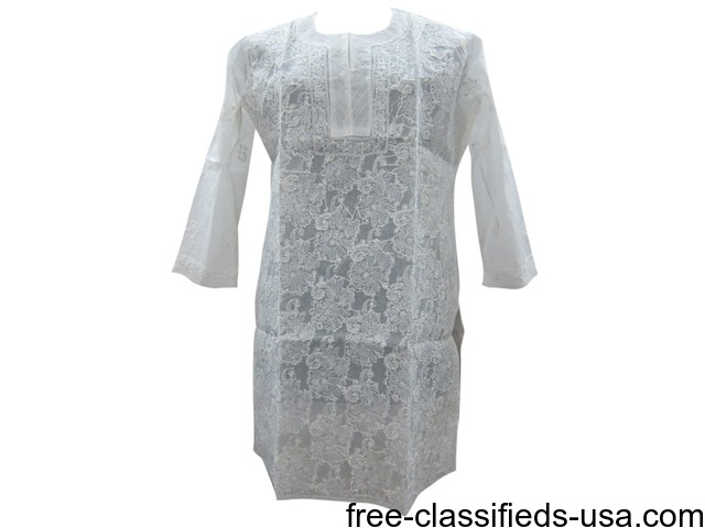 Indian White Tunic Floral Embroidered Kurti Cotton S