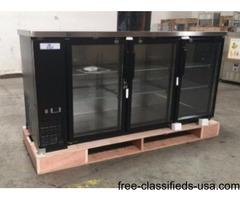 Black Glass Door Back Bar Beer Bottle Refrigerator Cooler Display Nsf