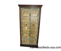 Reclaimed Hand Painted Cottage Chic Distressed Vintage Cabinet