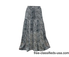 Womens Long Skirt Boho Chic Blending Black Grey Maxi Printed Georgette