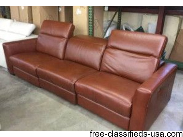 Nicolo cognac 3 piece reclining sectional sofa - Home ...