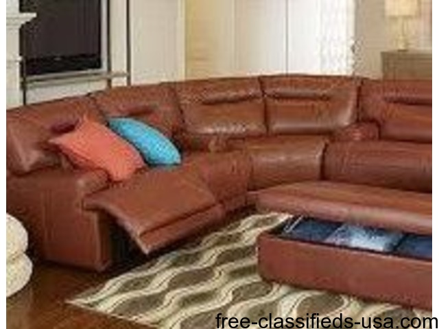 Ricardo Leather Reclining Sectional Sofa - Home Furniture ...
