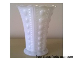 WHITE MILK GLASS FLOWER VASE