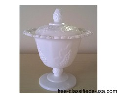 WHITE MILK GLASS PEDESTAL DISH WITH LID