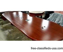 12' Wood Veneer Racetrack Conference Table