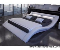 Modern leather Quuen bed with build-in Light