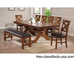 8PCs Dining set (table + 6 Chairs + bench)