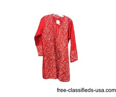 Indian Tunic Red Floral Needlecraft Exquisite Embroidery Cotton Dress large