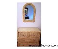 Wicker Dresser, Mirror and 2 side tables