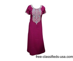 Bohemian Caftan Dress Pink Embroidered Cotton Kaftan Resort Lounge Dresses M