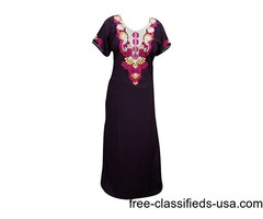 Womens Cotton Kaftan Maroon Brown Embroidery Muumuu House Dress M