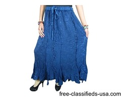 Women's Skirt Denim Blue Stonewashed Gypsy Embroidered Skirts XL