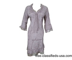 Bohemian Women's Dress Stylish Neckline Vintage Grey