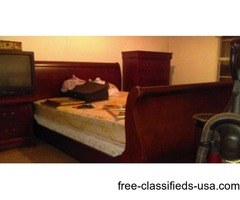 Cherry wood sleigh bed bedroom suite