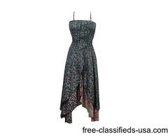 Womens Two Layer Smocked Bodice Asymmetrical Hippie Dresses