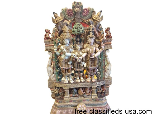 Indian Antique Sculpture Parvati kalyanam Temple Decor Statue | free-classifieds-usa.com