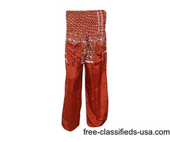Womens Trouser Rayon Sexy Red Smocked Waist Baggy Boho Harem Pants