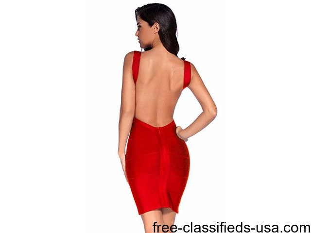 Lowcut Bandage Cocktail Dress | free-classifieds-usa.com