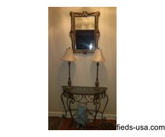 Console Table, Mirror and Lamp Set