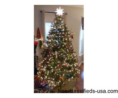 7 ft Lit Christmas Tree and Misc.. Lights and decorations