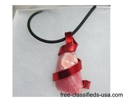 REd & pink pendant handmadein USA. (60)