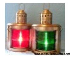 Antique Brass Finish Port and Starboard Ship's Lamps